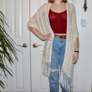 Garage Crochet Fringe Cardigan